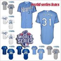 baseball pena - 30 Teams edinson volquez francisco pena kendrys morales louis kansas city royals Jersey White Grey Blue Baseball Jersey world series logo