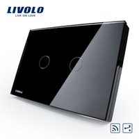 Wholesale Livolo switch touch switches smart home products rectangle C8 double black remote control two open