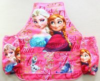 Wholesale 57X48cm Large PINK Blue Frozen Elsa Ana Aprons Waterproof Frozen childrens Cooking Art Paint SET Sleeveless Aprons Oversleeves