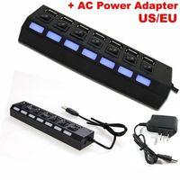 Wholesale 7 port USB HUB USB HUB with AC power adapter USB2 HUB Port High Speed usb hub on OFF switch