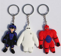 anime rubber - 10pcs cm Anime Big Hero Baymax Hiro Soft Rubber Double face Keychains PVC Figure Toys