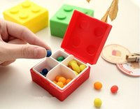 Wholesale 1 Colorful Lego Bricks Mini Pill Storage Box Holder PLastic Slots Travel Portable Tablet Pill Organizer Case