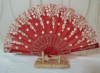 plastic hand fan - Ladys Silk Dance Fan Embroidered Hand Fan China plastic Fan