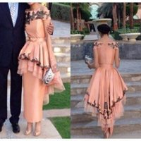 ankle length dresses - Ankle Length Peach Evening Dresses with Black Appliques Peplum Skirt Bodycon Cheap Party Dresses Ruffled Taffeta Off Shoulder Evening Gowns
