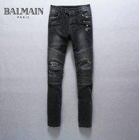 Wholesale 2015 Balmain Biker Knee Panel Jeans Men Gray Cotton SLIM FIT JEANS Size