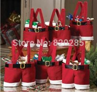 Wholesale Christmas gift bag santa wine bottle cover Santa Gift pant style Treat Bags For Candy X mas gift