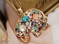 Wholesale D06 Lucky Dubbo Fluke elephant cute little elephant colored gemstone diamond long sweater chain length necklace female gold