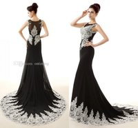 dresses in china - 2015 Elegant Black Mermaid Prom Dresses Sexy Sheer Crew Neck Draped Lace Applique Real picture Designer Occasion Dresses Make In China WX