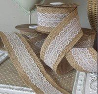 al por mayor mayor a casa de acabado y decoración-Cinta de Hesse arpillera de yute mayor-natural con el cordón Ribetes cinta rústica decoración de la boda del pastel de bodas Topper decoración del hogar Tabla 6 * 200cm