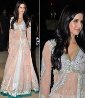 anarkali dresses - Bollywood Actress anarkali suits katrina kaif Prom Gown V Neck Full Sleeves Beaded Sequins Evening Dress