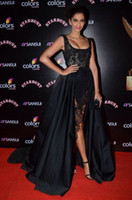Cheap Zuhair Murad Black Lace Pearl Bead Sonam Kapoor Red Carpet Celebrity Dresses Cap Sleeve Hi-Lo Gorgeous Evening Prom Dress Sexy Party Gowns