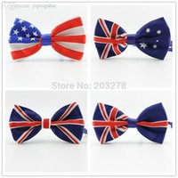 american flag ties - new fashion men bow tie Union Jack British Flag bowtie Australian American Flag bow ties Necktie