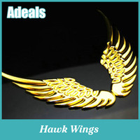 alloy hawk - Pair D Car Logo Sticker Alloy Metal Angel Hawk Wings Emblem Badge Decal
