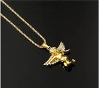 achat en gros de or bébé rempli-ANGEL BABY pendentifs 76cm Long Haute Qualité Fashion Star Hiphop CHARM 24k or rempli de chaîne de classement collier bijoux HOMME