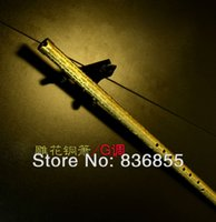 Wholesale Classical Chinese Ancient Instrument Western Style Carving Brass Bell Metal Vertical Blowing Flute Self defence Weapon Craft