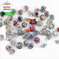 Wholesale 50pcs hot sale many styles Rhinstone Snaps buttons for mm snap button jewelry fit leather charm bracelets