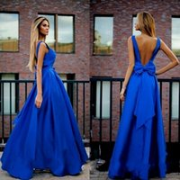 Sweetheart china prom dresses - Blue V Neck Prom Dresses A Line Arabic Dubai Made In China Stain Bow Cocktail Dress Formal Evening Party Gowns
