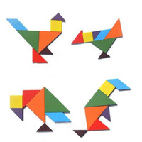 Wholesale 50 batch Colorful Tangram Children Mental Development Tangram Wooden Jigsaw Puzzle Educational Toys for Kids intellectual Building Blocks