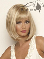 Wholesale 2015 Hot Sale New Synthetic Wigs Short Straight Hair Blonde Wig For Women Glamorous Fashion