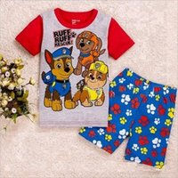 Cheap kids clothes baby pajamas 2016 New Cartoon paw patrol boys girls Short sleeve tops pants Homewear Suit clothing children Outfits Sets