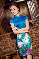 Wholesale Wonderful Chinese Blue Silk Flowers Digital Printing Women s Slim Retro Short Dresses stand collar improved Cheongsam
