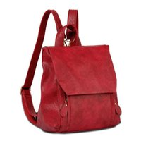 backpack vintage look - Korean Preppy Look Women Vintage Soft Solid Leather Fashion Bags Backpack