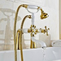 bathroom tub paint - Gold Plate Bathroom Deck mount Tub Faucet White Painting Dual Handles Mixer Tap