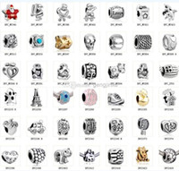 Wholesale 2015 New Mix Pandora Style Fashion Silver Loose Beads Charm Alloy Fit European DIY Jewelry Bracelets Flat Big Hole Beads