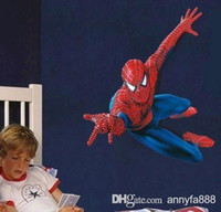 Wholesale New Design The Amazing Spiderman Wall Stickers for Kids Nursery Room Cartoon Decorative Wall Decal Movie Poster Home Decoration Wall Art