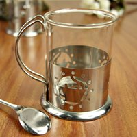 Stainless Steel base coffee - Hollow Stainless Steel Based Cup Transparent Tea Coffee Glass Thanksgiving Day Valentine s Day Christmas Gifts WS301