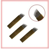 Wholesale 20pcs box pin pin stainless steel curved eyebrow tattoo needle float blade Disposable tattoo supply