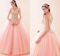 beautiful prom gowns - Beautiful Pink Ball Gown Quinceanera Dresses Sweetheart Appliques Beads Ruched Tulle Debutante Masquerade Sweet Prom Dress