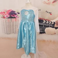 Wholesale New fashion girls Frozen elsa dress Frozen Costume Elsa princess Dress With White Lace Wape Girls Dresses little girl kids dress