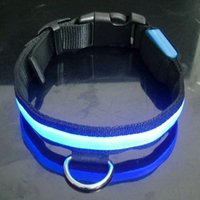Wholesale Safety Pet Dog Collars LED Lights Nylon Training Collars Products for Dogs Colors Black Fabric Surface Flat Fiber Collar Xmas Gift