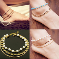bare foot beach - 2014 New Arrival Fashion Lady Beach Multi Tassel Sequins Bare Anklet Chain Foot Jewelry Free