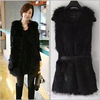 Wholesale 4077 women long faux fur vests coat Waistcoat for Women Fake Fur Sleeveless Faux Vest Coat With V Collar Long Waistcoat Jacket Outwear