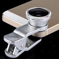 Wholesale 3 in Mobile Phone Lenses Metal Clip Fisheye Lens Universal Wide Angle Micro Lens for iPhone S Samsung Mobile phone
