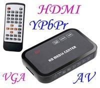 Wholesale New P Media Player Center RM RMVB AVI MPEG Multi Media Video Player with HDMI YPbPr VGA AV USB SD MMC Port Remote Control