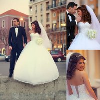 Wholesale Sweetheart Princess Wedding Dress China - Princess 2015 Bridal Gowns Sweetheart Neckline Pearls Crsytal Beaded Tulle Skirt Vestidos White Ivory Cheap Wedding Dresses Made In China