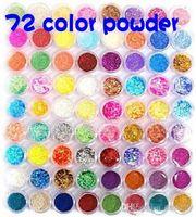 Wholesale Nail art Pots Kinds of Glitter Decoration Powder Crush Shell Bead Metal Shiny Tool Kit Acrylic UV Glitter Powder Dust Stamp set A