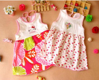TuTu Summer A-Line Wholesale-MN-SALE! lovely Floral baby girls' summer tank dresses 100% cotton T shirts 2014 kids' clothing baby dress 0-24M