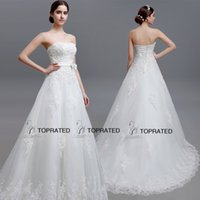 Wholesale 2015 New A Line Wedding Dresses Bridal Gown With Real Image Strapless Beads Crystals Lace Up Appliqued Bow Ivory Full Length LGM15