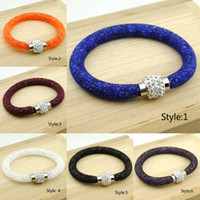 Crystal bijoux - Christmas New Mesh Stardust Bracelet Filled With Crystal Rhinestone Ball Magnetic Clasp pulseira Women Bijoux Charm Bracelets Bangles KB801