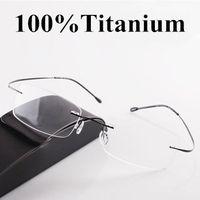 Wholesale Classic eyes box ultra light titanium rack rimless eyeglasses frame glasses myopia picture frame oculos de grau