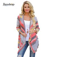 Wholesale Jimshop Women Korean Rainbow Colorful Stripes Irregular Casual Autumn Shawl Kimono Cardigan Tops Outerwear Cover Up Blouse