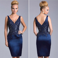 knee length cocktail dress - Sexy Corset Short Cocktail Dresses V Neck Backless Knee Length Prom Party Gowns Beaded Navy Blue Formal Mother Of Bride Plus Size