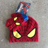 Wholesale 2015 New children s spideman spiderman cotton hats and gloves sets for years old boys and girls gifts MY329
