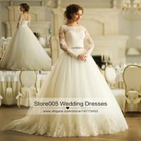 belts online - Modest Ivory Wedding Dresses Lace Long Sleeve Ball Gown Bridal Dress Corset Back Belt Online Robe de mariage Vintage Z280