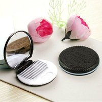 Wholesale Hot Salw Best seller Cute Chocolate Cookie Shaped Design Makeup Mirror with Comb May