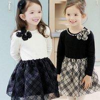 Wholesale 2015 Kids Clothing Of Girl Pure Cotton Bowknot Princess Dress Korean Long Sleeve classic Grid Children Dresses Fit Age TR26